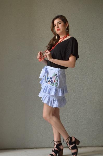 urban outfitters blouse, zara skirt, mango earrings, Dillard's beaded necklace, steve madden sandals